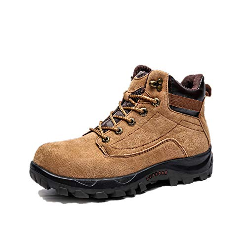 Men's Warm Tooling Boots Round Head wear-Resistant Anti-Skid lace up Martin Boots(Khaki & 44/10 D(M))