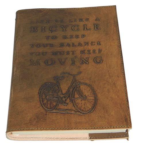 M&N Bicycle Motif Embossed Handmade Leather Journal, Notebook 8''X6'' ()
