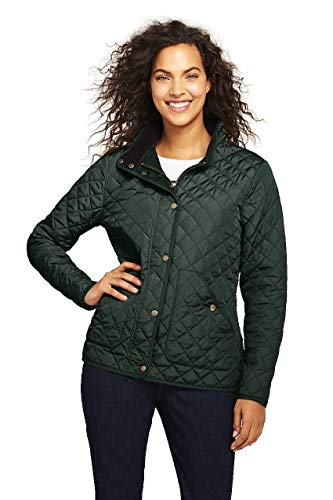 Lands' End Women's Quilted Barn Insulated Jacket, L, Deep Woodland -