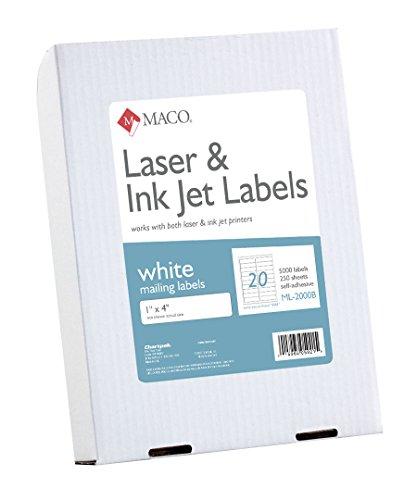 MACO Laser/Ink Jet White Address Labels, 1 x 4 Inches, 20 Per Sheet, 5000 Per Box (ML-2000B)