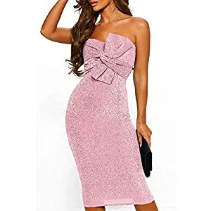 Aiserkly Women's Sexy Off Shoulder Sequin Dresses Tie Bow Party Evening Dress Bustier Cocktail Dress Evening Dress Festive Dress Sleeveless Midi Dress