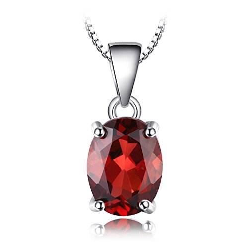 (JewelryPalace Gemstones Birthstone Necklace For Women 925 Sterling Silver Solitaire Pendant Necklace For Girls 2.5ct Natural Garnet Necklace Chain Box 18 Inches Oval Cut)