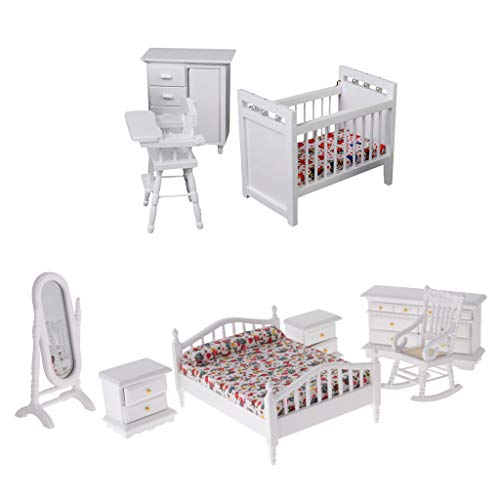 (SM SunniMix 9pcs 1/12 Dollhouse Miniature Furniture Floral Design Bed Cabinet & Baby Crib, Seat Set Accs)