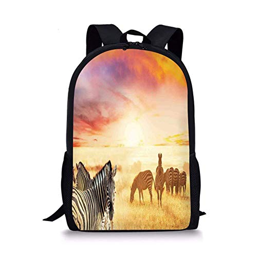 School Bags Safari Decor,African Zebras at Fairy Sunset on the Grassland Wildlife Adventure Theme in the Nature,Golden Red for Boys&Girls Mens Sport Daypack
