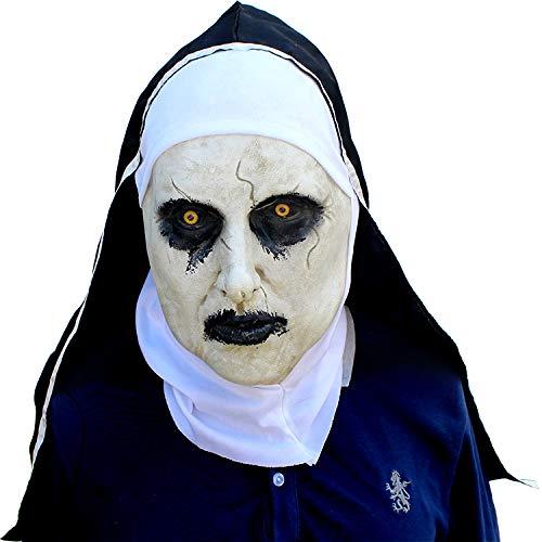 DOKJ Horror-Nonnenmaske, hergestellt aus Naturlatex, gruselige Luxus-Halloween-Maske, furchterregende Erwachsene Partymaske für Erwachsene