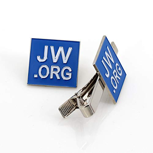 Perfect Present-Jw.org Gift Necktie Clip and Lapel Pin Set-Square -with JW.ORG Logo Gift Box-Blue