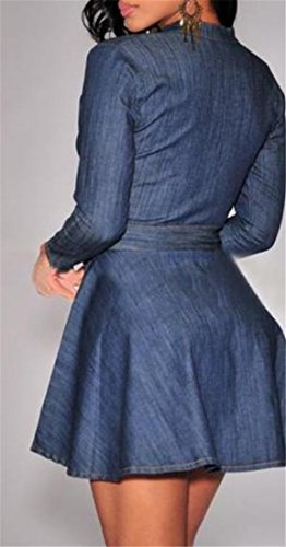 Blue Women's Denim Low Long Mini Sleeve Dress Tang Skater Big Neck Belted HqRPwP5