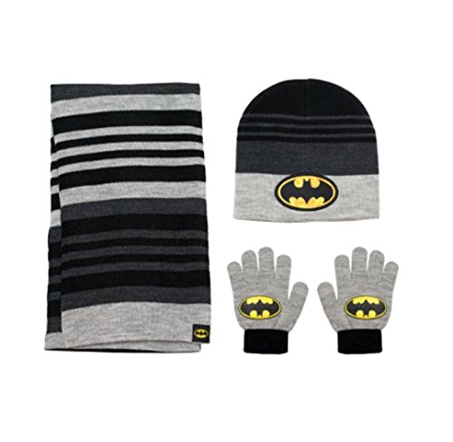 Batman Products : DC Comics Batman Dark Knight Winter 3pc Set Hat Gloves and Scarf