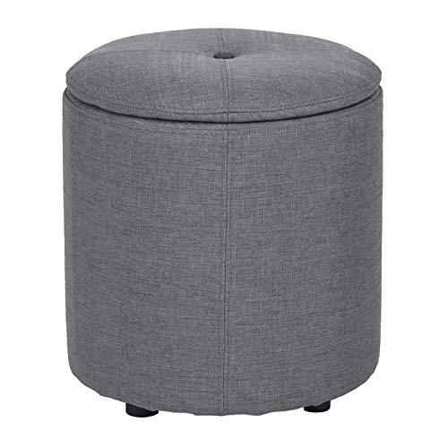(FurnitureR Multifunction Ottoman Round Sofa Foot Stool Velvet Cover Chair (Grey))