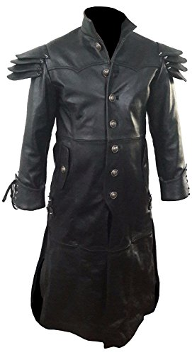 Olly And Ally Mens Real Black Leather Goth Matrix Trench Coat Steampunk Gothic -T24