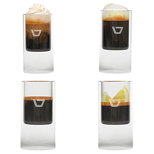 Coffee Shot Glasses, Double-walled 2.5ounce, Set of Four (4) 75ml Insulated Cups for Espresso Drinks