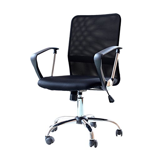 IDS Home Ergonomic Adjustable Mesh Mid-Back Office Task Desk Chair with Arms, Black