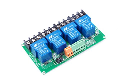 (KNACRO 4-Channel DC 5V Relay Module High/Low Level Triggering Optocoupler Isolation Load 30A DC 30V/AC 250V for PLC Automation Control, Industrial System Control, Arduino (5V, 4-Channel))