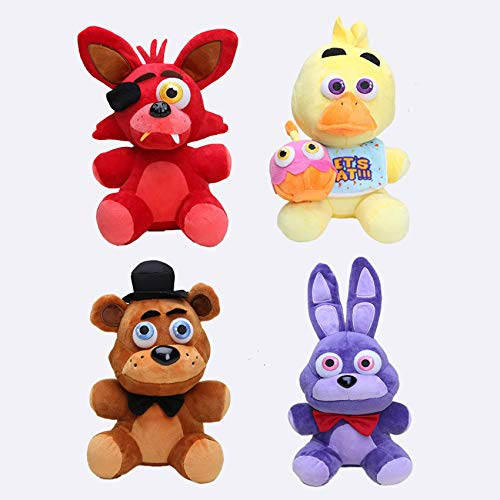 papeo Set 4 FNAF Plushies 9 inch Big Plush Figure Toy Huggable Large Stuffed Toys Doll Gift Christmas Halloween Birthday Gifts Cute Collection Collectible Fazbear for Kids Adults