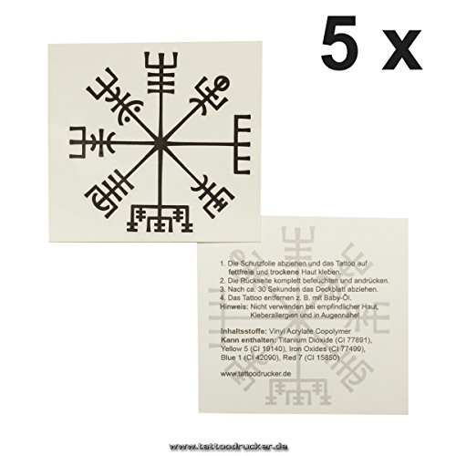 5 x Viking compass tattoo - Vegvísir - Celtic compass - mystical protection symbol -