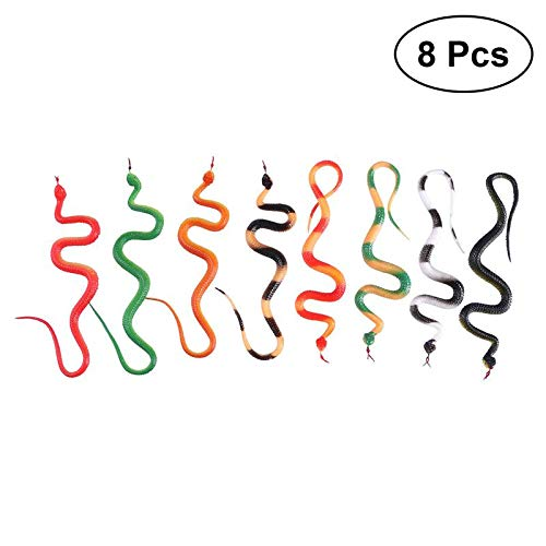 8Pcs Snake Toy Realistic Simulation Creepy Toys Spooky Prank for Halloween Party April Fools Day -