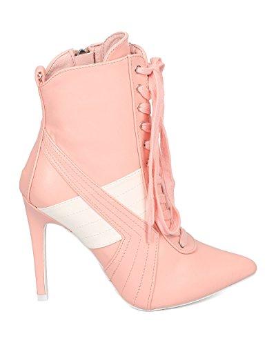 Cape Robbin Dames Lace Up Stiletto Bootie - Sport Stripe Bootie - Puntige Teen Enkellaars - Hk57 By Pink Leatherette