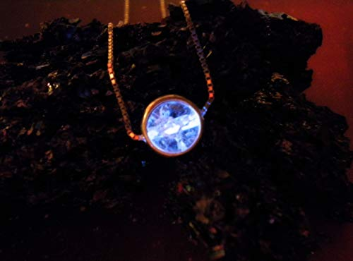 Captured Spirit Energy Orb - Sterling Silver Disc and Chain - Glow in the Dark Sphere Necklace Pendant
