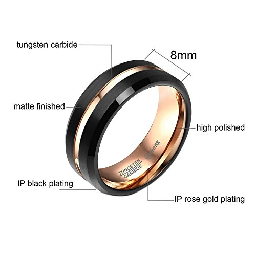 enhong Mens Tungsten Carbide Rings 8mm Black Matte Finish Weding Band 18K Rose Gold Plated Beveled Edge Wedding Ring By 7 by enhong (Image #3)