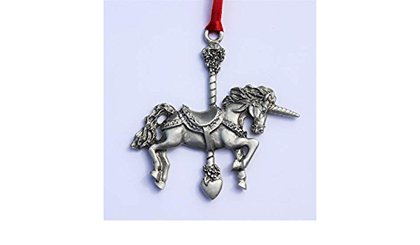 Hastings Pewter Company Lead Free Pewter Carousel Horse Ornament  fine pewter  Made in Michigan made in MI made