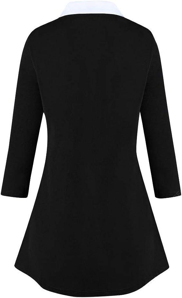 UJUNAOR Damen Langarmshirt Solides warmes Damen Split Sweatshirt mit Kn/öpfen Loose Plus Size Pullover Tops Bluse