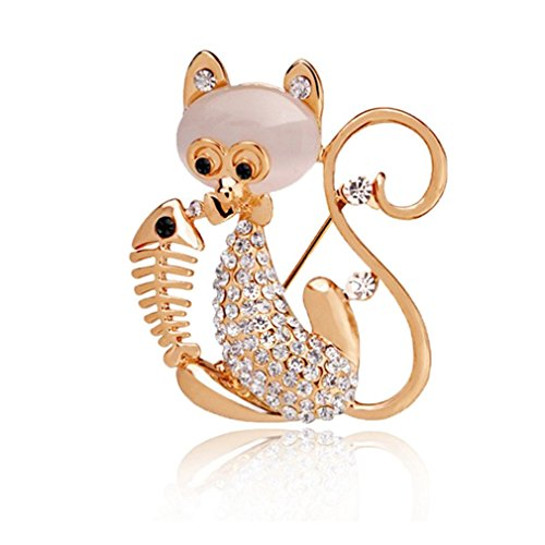 Rhinestone Kitty Cat Brooch Pin - 5