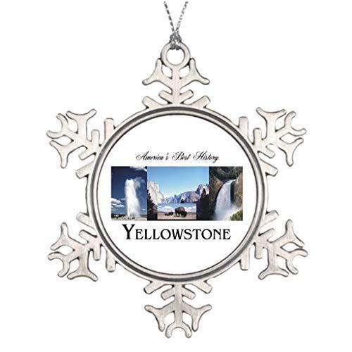 (EvelynDavid Snowflake Ornament Personalised Christmas Tree Decoration Yellowstone National Park Rocky Mountains Snowflake Ornaments Christmas)