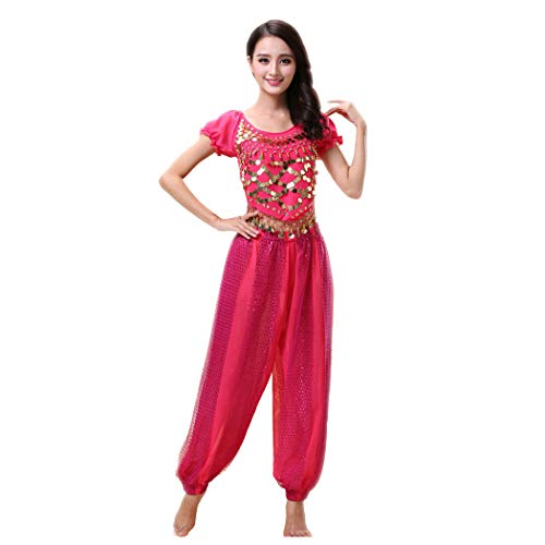 Maylong Women's Harem Pants Belly Dance Outfit Halloween Costume DW65 (hot Pink) ()