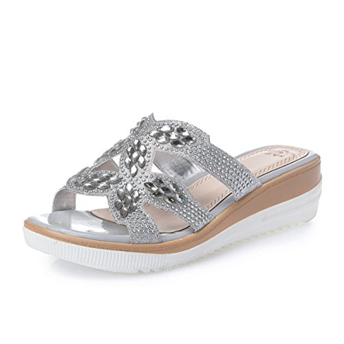Dfb Leather Rhinestones Thick Bottom Slippers Word Drag Fashion Sandals Casual Ladies Slope With Big Shoes Slippers For Women,Silver-36