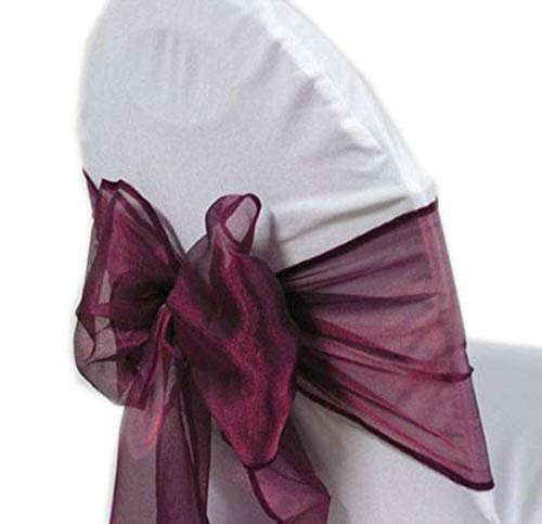 mds Pack of 25 Organza Chair sash Bow Sashes for Wedding and Events Supplies Party Decoration Chair Cover sash -Dark Purple