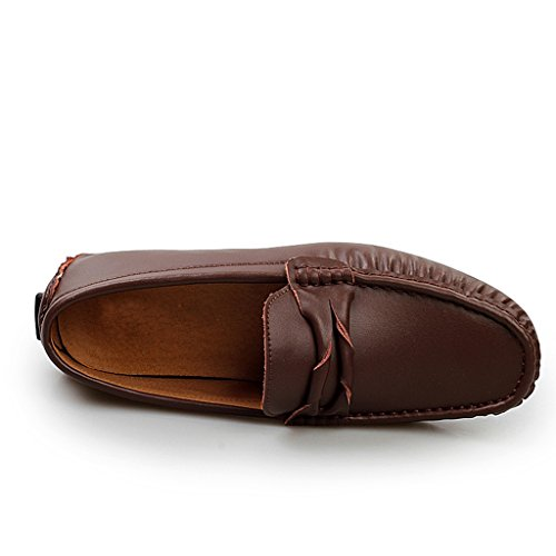 Men's Stripe Driving Brown Slim Slip Comfortable Boat On Loafers Leather TDA Shoes 4dSq4