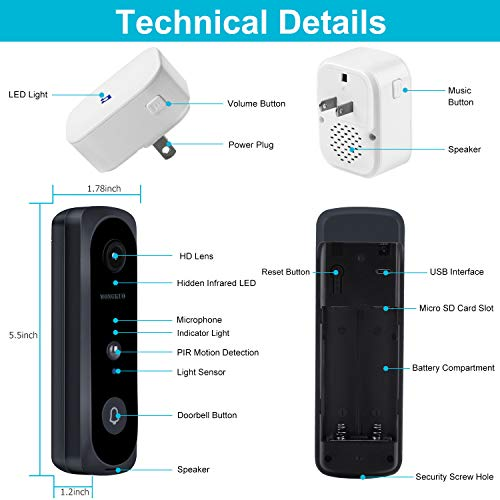 Video Doorbell WONGKUO Wireless Video Doorbell Camera HD 166° Security Smart WiFi Doorbells with Indoor Chime,2 Rechargeable Batteries,Motion Detection,Real-Time Video,Two-Way Talk,Night Vision