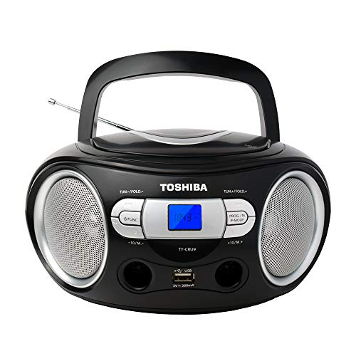 Toshiba TY-CRU9(K) Portable MP3 CD Boombox with Built-in AM/FM Stereo Antenna, USB Playback and Aux Input, LCD Panel, Black