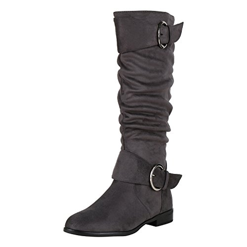napoli-fashion Klassische Damen Stiefel Schnallen Leder-Optik Booties Jennika Grau Grey