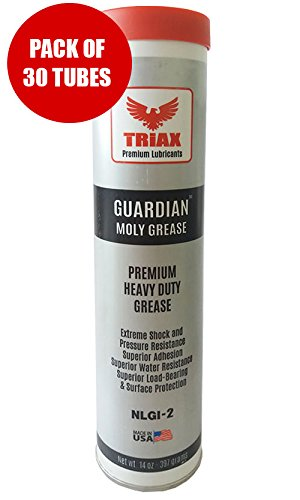 14.1 OZ CARTRIDGE - TRIAX GUARDIAN No. 2 HEAVY DUTY EP MOLY GREASE - Ultra Tacky / Shock, Water and Heat Resistant (BOX OF 30 x 15 oz) by Triax