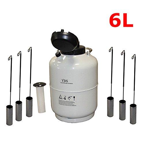 Liquid Nitrogen Container LN2 Tank Dewar with 6Pcs Pails and Lock Cover ()