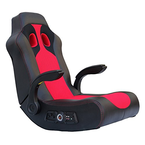 Ace Bayou X-Rocker Vibe Video Game Chair with 2.1 Audio Chair Bluetooth and Arms - Black/Red ()