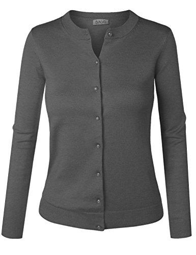 BIADANI Women Button Down Long Sleeve Soft Knit Cardigan Sweater Grey Large (Rockabilly Womens Cardigan)