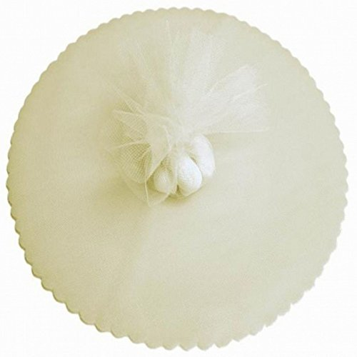 100 Ivory Scalloped Tulle Circles 9