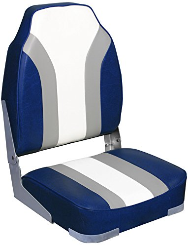 (Leader Accessories High Back Folding Rainbow Boat Seat (Blue/Gray/White))