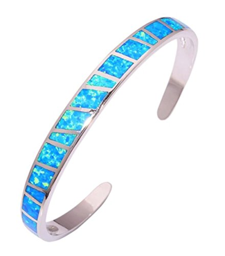 Chandria's Treasures Synthetic Blue Fire Opal Bangle Bracelet - Summer Sale