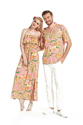 Made in Hawaii Premium Couple Matching Shirt Off Shoulder Dress Floral Pink Orange Floral 3XL-M by Hawaii Hangover