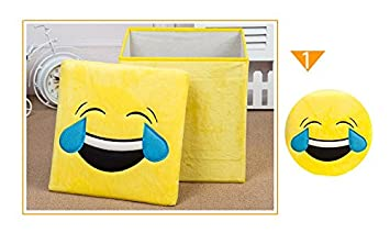 Interbusiness Storage Ottomans 12 1 5 Emoticon Cube Foot Rest Collapsible Flannel Laugh Emoji Bench