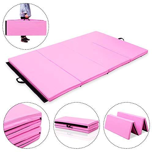 Giantex 6 x 4 x 2 Gymnastics Mat Thick Folding Panel Tumbling Mat with Handles for Gym Fitness Exercise with Hook & Loop Fasteners (Pink/4-Fold)