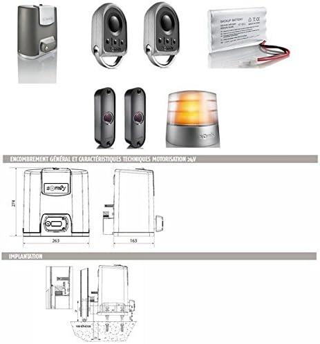 Para puerta corredera SOMFY puerta automática sistema Motor ELIXO 500 3S 24 V comodidad io Som 1216365 - paquete: Amazon.es: Bricolaje y herramientas