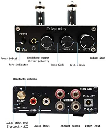 Dilvpoetry R50 6J4 Tube Amplifier HiFi Audio Stereo Digital Amplifier Headphone Amplifiers Bluetooth Treble Bass Desktop Preamplifier Preamp Black