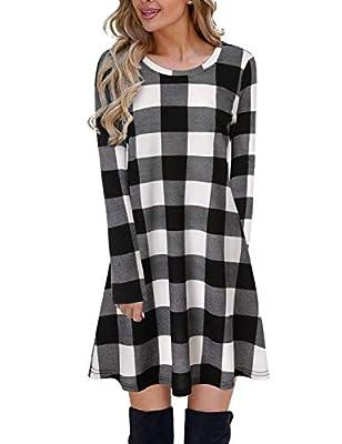 Blooming Jelly Women's Plaid Swing Dress Long Sleeve Round Neck Tunic Mini Dress