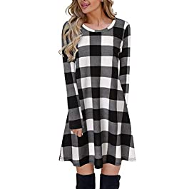 Blooming Jelly Ladies Plaid Dress Long Sleeve Swing Jumper Winter T Shirt Dresses for Women