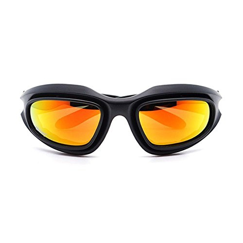 UIM-Shop Polarized Field Motorbike Driving Riding Ski Goggles Glasses -Padded Motorcycle Mirrors Set Black Frame with 4 pair of Lenses by UIM-Shop (Image #1)