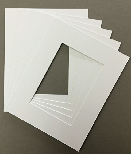 Pack of 5 18x24 White Picture Mats Mattes Matting with White Core Bevel Cut for 13x19 Pictures